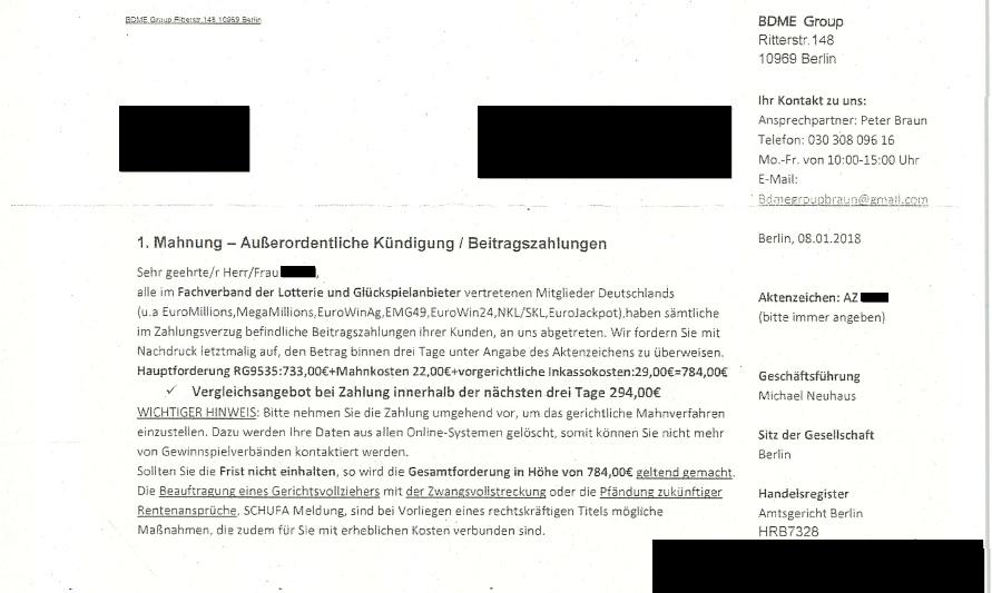 Vorsicht Bei Mahnung Der Bdme Group Verbraucherzentrale Warnt