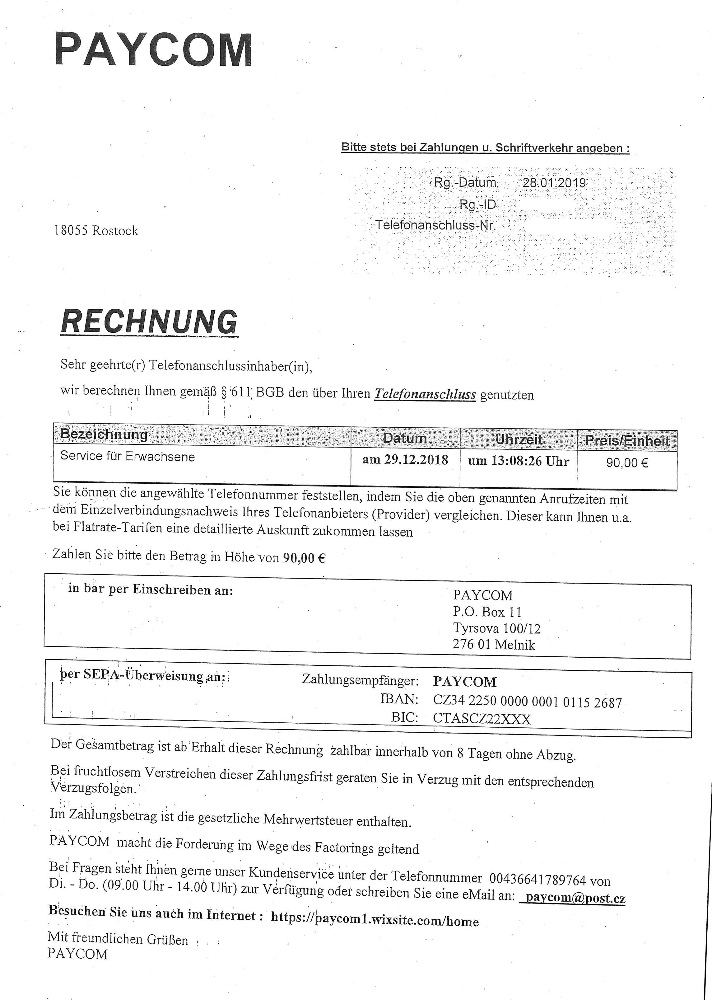 Paycom Rechnung